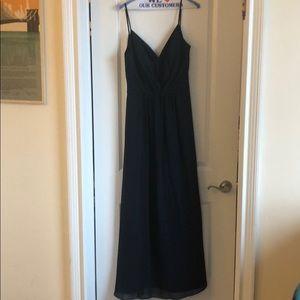 Navy blue spaghetti strap wedding dress